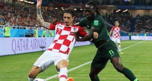 Croatia's Sime Vrsaljko and Nigeria's Victor Moses