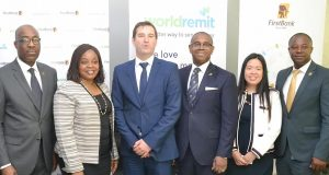 Officials at the launch of the WorldRemit/FirstBank Partnership on June 5, 2018.