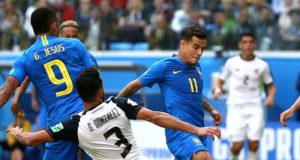 Brazil's Gabriel Jesus and Philippe Coutinho rattling the Costa Rican defence