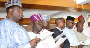 Newly elected APC State chairmen at their inauguration in Abuja