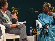 "Obasanjo speaking during a forum on ""African Development Finance Institutions…Insights from a Founding Father"