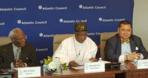 Nigeria's Ambassador to the US Sylvanus Nsofor; Minister of Information and Culture Lai Mohammed and Dr. Peter Pham, Vice President for Research and Regional Initiatives; Director, Africa Centre, Atlantic Council, at a High-Level Roundtable convened by the Council in Washington, DC, US, on Thursday.