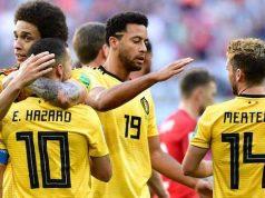 Belgium skipper, Eden Hansard celebrates with team mates