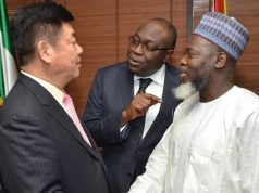 Dr. Victor Babatunde Adeniran, Chief Operating Officer (COO), Ventures Autonomous Business Unit with CNOOC boss Yuan Guangyu,