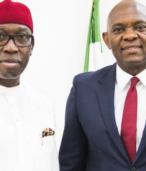 Gov. Ifeanyi Okowa of Delta and Tony Elumelu
