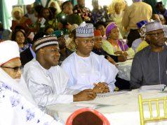 L R: Etsu Nupe,Alhaji Yahaya Abubakar, Dogara, Saraki and SGF Boss Mustapha