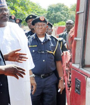 Minister of Interior Gen. Dambazzau and Federal Fire Service officials