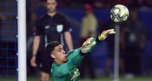 Joel Pereira saves a penalty in Manchester United's 9-8 shootout victory