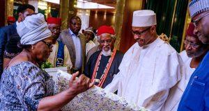 President Buhari with members of the late Alex Ekwueme's family