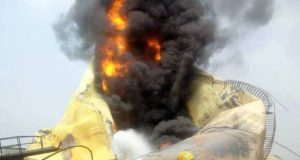 Oil depot gutted by fire