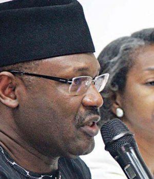 INEC Chair, Prof. Mahmoud Yakubu and May+Agbamuche-Mbu