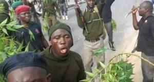 Policemen protesting in Maiduguri