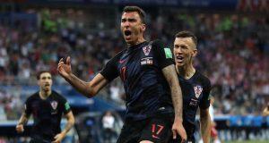 Croatia players celebrate victory over England