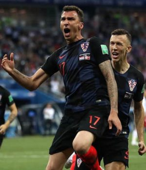 Croatia players celebrate victory over England