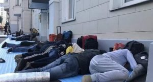 Some of the stranded Nigerians sleep outside the Nigerian Embassy in Russia