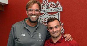 Liverpool manager Jurgen Klopp with Shaqiri