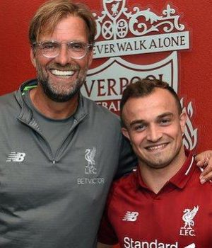 Liverpool manager Jurgen Klopp with Shaqiri