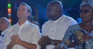 President Macron, Gov. Ambode at the Afrika shrine