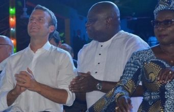 President Macron, Gov. Ambode at the Afrika shrine