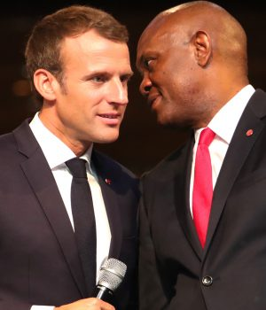 President Macron and Elumelu at the TEF Interactive Session in Lagos