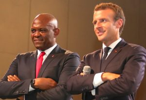 Elumelu and President Macron at the TEF Interactive Session in Lagos