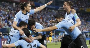 Uruguayan players celebrate