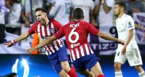 Atletico Madrid players celebrate victory over city rival, Real