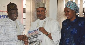 Lai Mohammed; Publisher and Chief Executive Officer of Blueprint Newspapers, Alhaji Mohammed Idris, and the Editor-in-Chief of Blueprint Newspapers, Hajia Zainab Okino,
