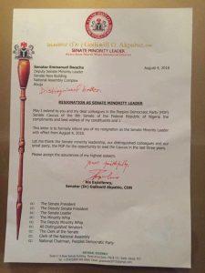 Sen. Akpabio's resignation letter
