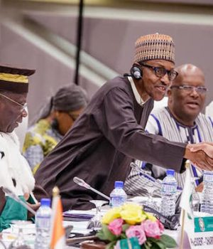 President Buhari being congratulated as new ECOWAS Chair in Lome