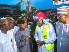 Osinbajo, accompanied by FCT Minister and SGF at the scene of the collapsed Abuja building