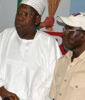 Gov. Ganduje, Chairman, Osun Governorship campaign committee with Adams Oshiomhole