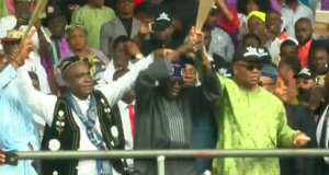 Tinubu and Akpabio during the rally