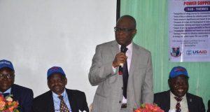 Professor Joseph Fuwape , VC FUTA, standing among other stakeholders