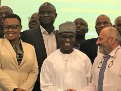 Baru, in handshake with the consultant for the Ajaokuta-Kaduna-Kano (AKK) Gas Pipeline Project's Engineering, Procurement and Construction (EPC) consortium, Dr. Safi Harb,