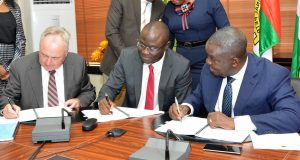 NNPC and Seplat officials signing the agreement