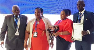 Dr. Christopher Kolade; Head Construction & Technical Unit, Lagos State Safety Commission , Debite Victoria Olu; Group Operational Lead, Risk Management, Dangote Industries Limited, Eneni Oduwole; Head, Risk Management, NASCON Allied Industries Plc, Adewale Akinwale, during the Risk Award held in Lagos