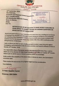 EFCC letter from Fayose
