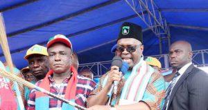 Ekere addressing the Uyo Rally