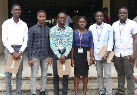 FUTA students: Bello Emmanuel Kolawole (Industrial Design Department), Farukanmi Iyanu Deborah (Food Science Technology), Olabiran Boluwatife Samuel (Mechanical Engineering), Babatunde Samuel Abiodun (Building Department), Okunmadewa Adedamola Oluwaseyifunmi (Architecture), Akinrinde Oluwaseyi Oreoluwa (Architecture) and Kola-Adelakin Oluwanbo Samuel