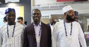 NIMASA DG, Dakuku Peterside flanked by other officials at the SMM conference