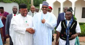 Akpabio, President Buhari and Sen. Enang