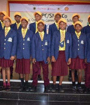 Beneficiaries of the 2018 NNPC SNEPCo NC2C at Grundtvig International Secondary School
