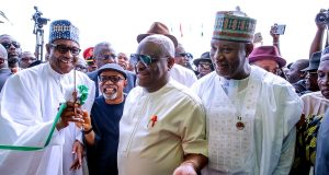 President Buhari, Gov. Wike and Hadi Sirika at the commissioning of the new Port Harcourt International Airport terminall