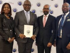 Adesola Adeduntan, MD/CEO, First Bank of Nigeria Limited & Subsidiaries with other top Execs at the Global Finance award