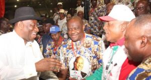 Goodluck Jonathan, Nyesom Wike and Uche Secondus