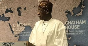 Lai Mohammed speaking at Chatham House