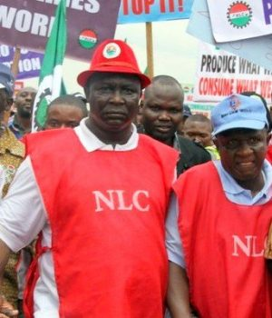 NLC President Ayuba Wabba lead other members on a protest