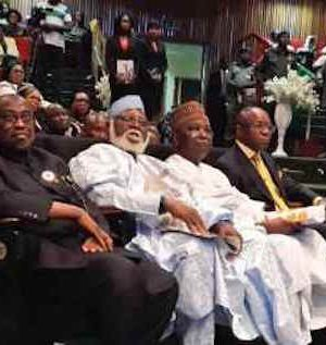 Retd Generals Abdulsalami and Gowon at the NNPC National Science Quiz Competition