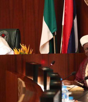 President Buhari with leader of Qadiriyya Islamic Movement in Africa